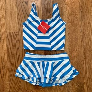 Hanna Andersson Blue Stripe Two Piece Swimsuit